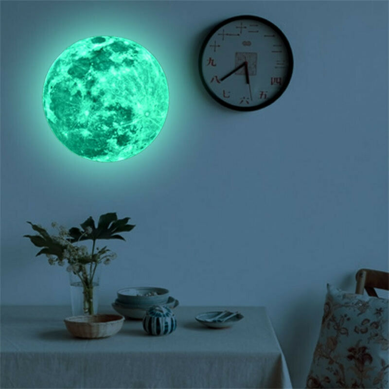 20cm 3D Large Moon Fluorescent Wall Sticker Removable Glow In The Dark PVC Arts