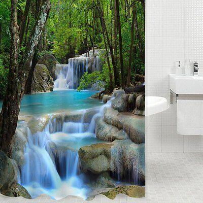 3D Waterfall Scenery Waterproof Shower Curtain Bathroom Polyester Bath Curtain