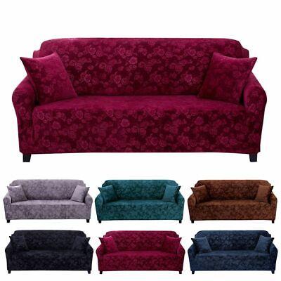 Stretch Velvet Sofa Cover Couch Loveseat Slipcover Home Embossing Flower Nonslip - Loveseat Sofa Slipcover