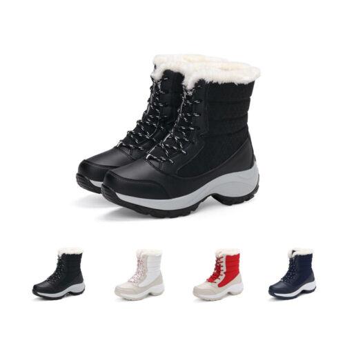 JACKSHIBO Womens Winter Waterproof Snow Ankle Boots Flat Com