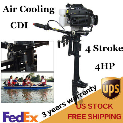 4 Stroke 4hp Heavy Duty Outboard Motor Boat Engine Air Cooling Cdi System Newest