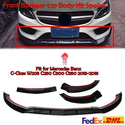 Gloss Black Front Bumper Lip Spoiler For 15-18 Mercedes Benz C-Class W205 Sport