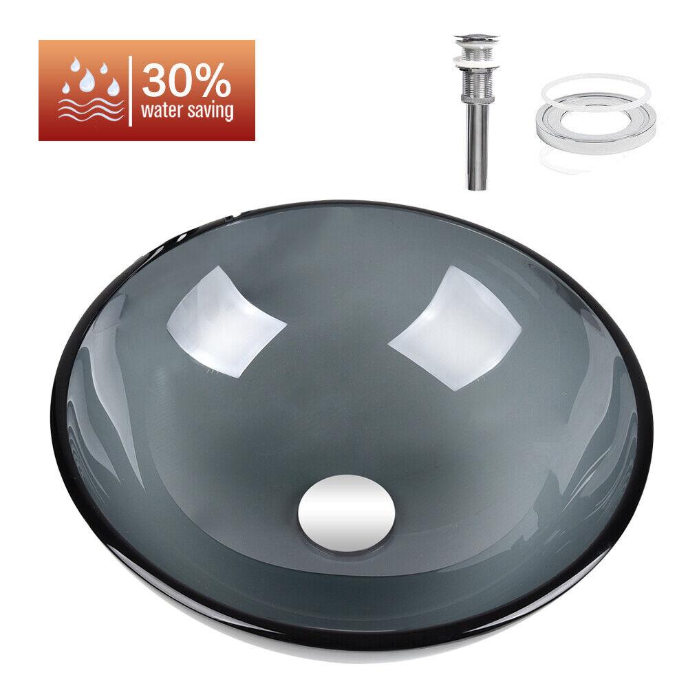 Bathroom Round Tempered Glass Vessel Sink Gray Basin Bowl W/