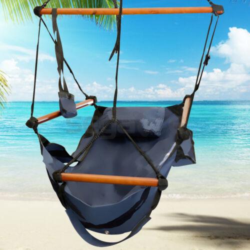 outdoor indoor hammock hanging chair air deluxe sky swing chair capacity 250lbs ebay. Black Bedroom Furniture Sets. Home Design Ideas