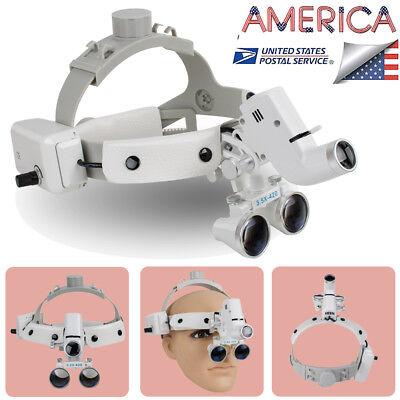 Usa Fda Headband Dental Binocular Loupes Glass Magnifierled Lamp 3.5x 280-420mm