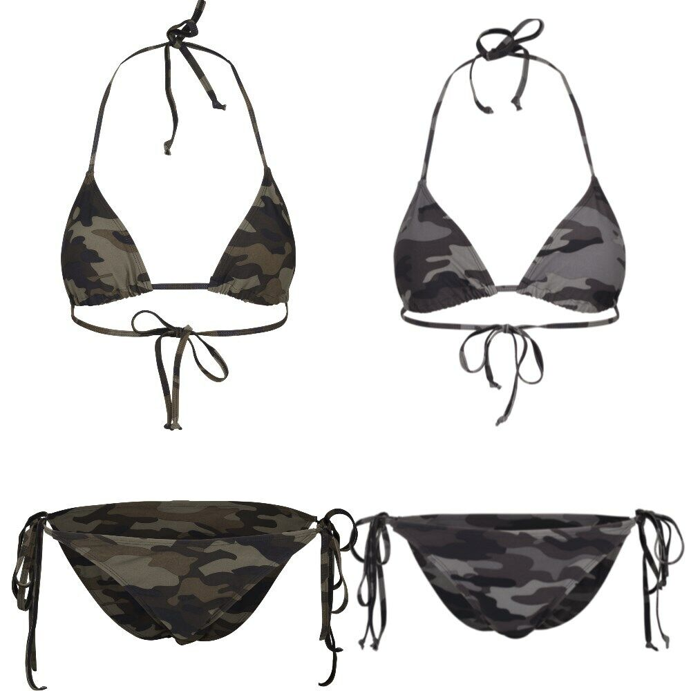 Urban Classics Ladies Camo Bikini Swimwear Camouflage Top Cups variabel Damen UC