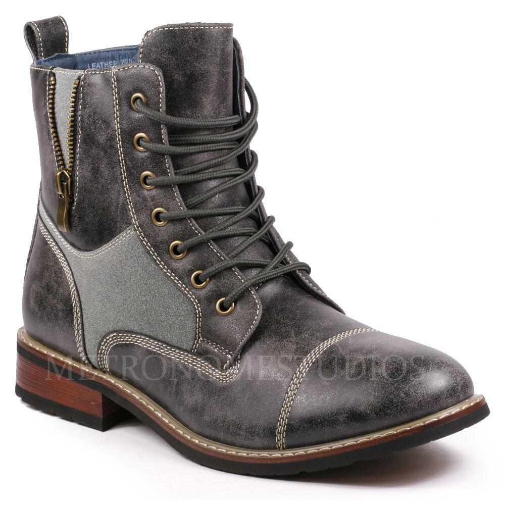 Metrocharm Men's Lace Up Cap Toe Military Combat Work Desert Casual Ankle Boots