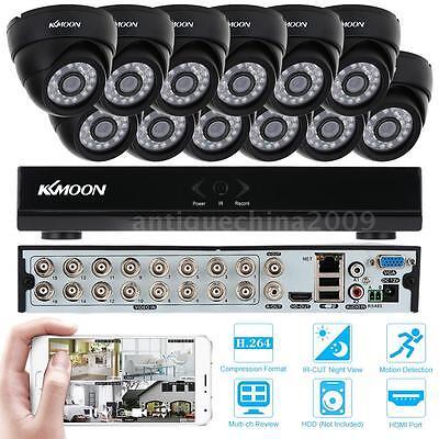 16CH H.264 960H/D1 DVR Security System +12pcs 800TVL IR-CUT CCTV Camera US STOCK