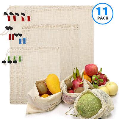 ✅11er Set Obst und Gemüsebeutel Wiederverwendbare Baumwolle Netz Einkaufstasche