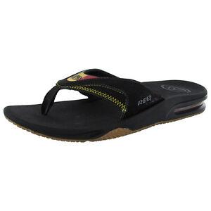 Reef Mens Fanning Bottle Opener Thong Flip Flop Sandals, Rasta 2
