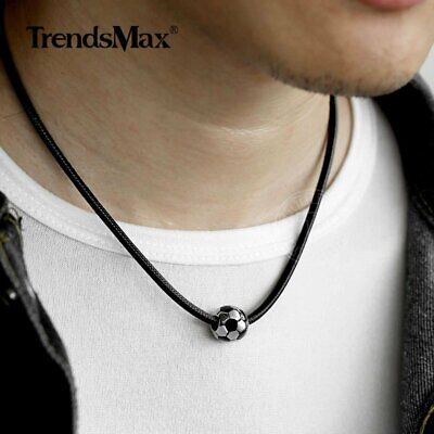 Stainless Steel Football Pendant Charm Necklace Soccer Choker for Men Women