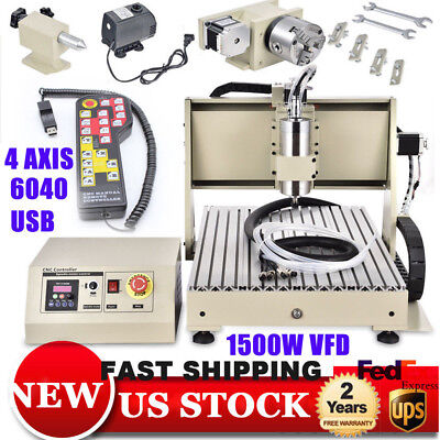 Usb 6040 1500w Vfd 4 Axis Cnc Router Engraver Cut Machine Woodworking Handle Rc
