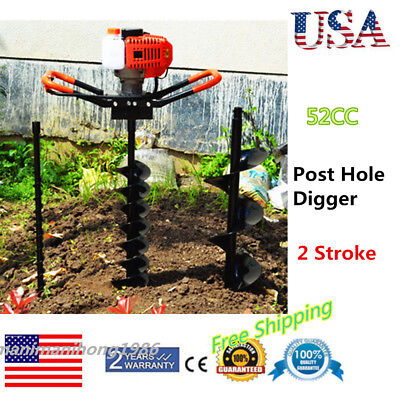 52cc Power Engine Gas Powered Post Hole Digger With 468 Auger Bits