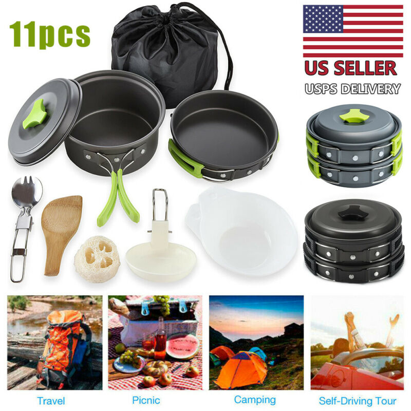 Camping Cookware 11Pcs Portable Outdoor Backpacking Hiking Cooking Equipment Set