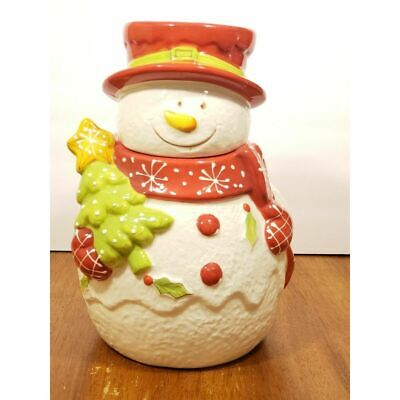 """Laurie Gates 11"""" Snowman Cookie Jar Vintage Christmas Holiday"""