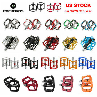 ROCKRBOS Road Mountain Bike Platform Pedals Flat Aluminum Sealed Bearing 9/16 (Best Mountain Bike Platform Pedals)