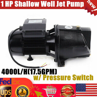 1 Hp Shallow Well Water Jet Pump 750w 17.5gpm 110v Self-priming Pump For Garden