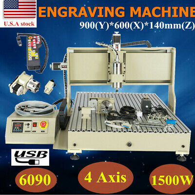 Usb 6090 4axis Cnc Router Engraver Vfd Engraving 3d 1.5kw Milling Cut Machinerc