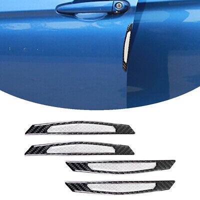 4pc White Super Reflective Carbon Fiber Side Door Edge Protective Guard Stickers
