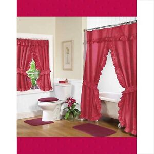 Ruffled Double Swag Shower Window Curtain W 4 Tie Backs