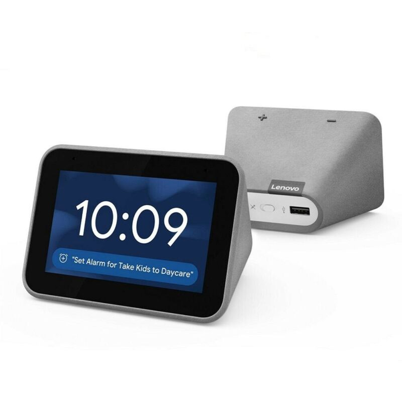 Lenovo ZA4R0002US Smart Clock with the Google Assistant Gray