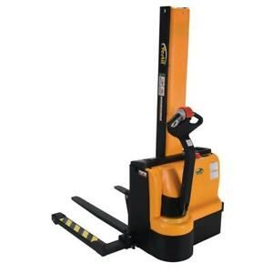 VESTIL SNM-62-AA NARROW MAST STACKER WITH POWERED DRIVE & LIFT - ADJUSTABLE FORKS AND LEGS - FORKS 8-1/3 - 26-3/4W X 4