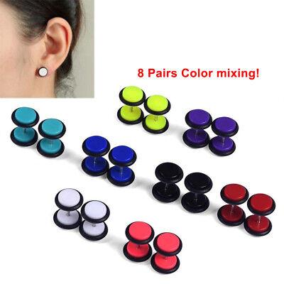 16x/8Pair Fake Cheater Acrylic Earring Stud Barbell Ear Plug Earlet Gauges -