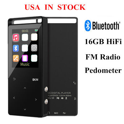 Portable 16GB Bluetooth MP3 Player HiFi Lossless Music Audio Player Touch Button