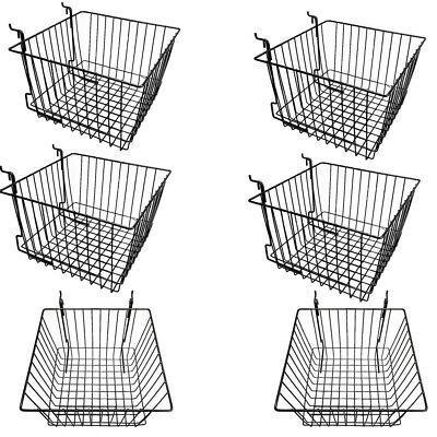 6 Pc Black 12x12x8 Slatwall Gridwall Pegboard Deep Basket Display Rack Fixture