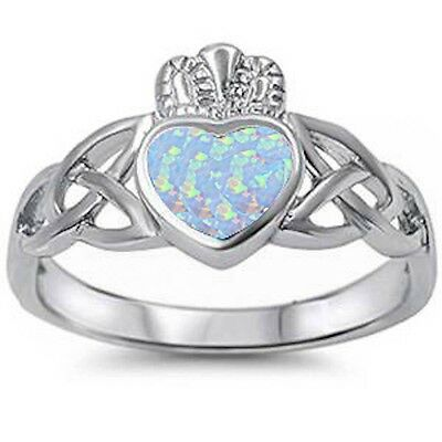 White Opal Irish Caddagh Celtic Style .925 Sterling Silver Ring Sizes 4-11 (Opal-irish Ring)