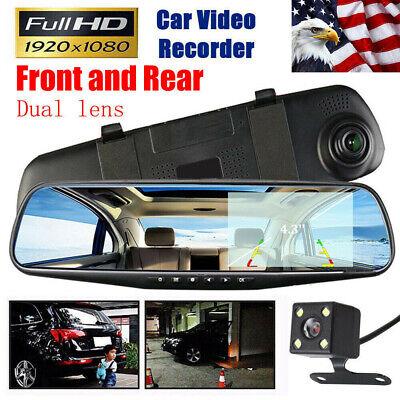 4.3'' Car 1080P HD Dual Lens DVR Dash Cam Front Rear Mirror Camera Recorder US