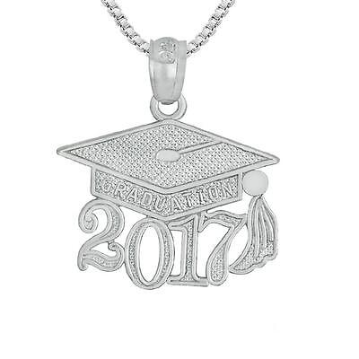 (Sterling Silver 2017 GRADUATION CAP Pendant / Charm, Made in USA, 18