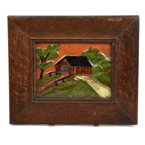 "BROWN COUNTY POTTERY 7"" X 5.25"" FRAMED TILE"