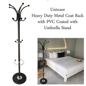 NEW Uniware Heavy Duty Metal Coat Rack with PVC Coated with Umbrella Stand, 14 Hooks, 70 Inch, Stable Marble Base Sta...