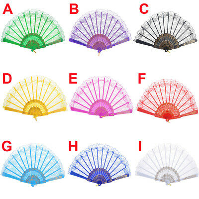 Chinese Vintage Style Lace Hand Held Folding Fan Dance Party Wedding Decor Fan 9 - Plastic Hand Fans