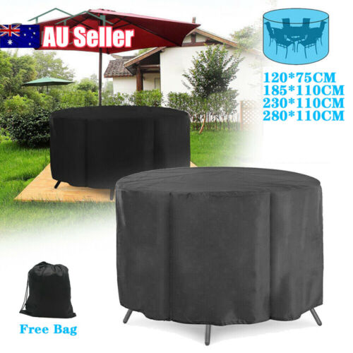 Garden Furniture - Large Round Waterproof Outdoor Garden Patio Table Chair Set Furniture Cover AU
