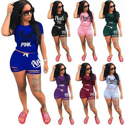2Pcs Women Tracksuit Set Summer T Shirt Top&Cut Out Shorts Pants Casual Suit (Suit Short Sleeves)