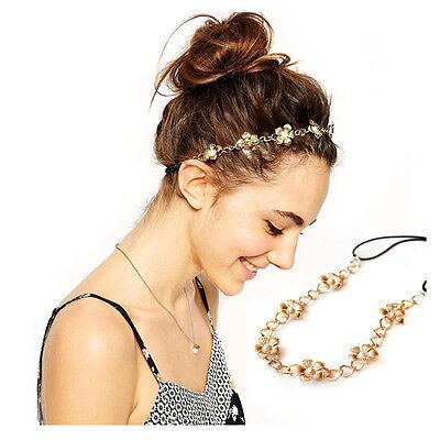 Jewelry Elastic Headband Women Hair Band Head Chain Metal Pearl Flower - Tiara Head Band