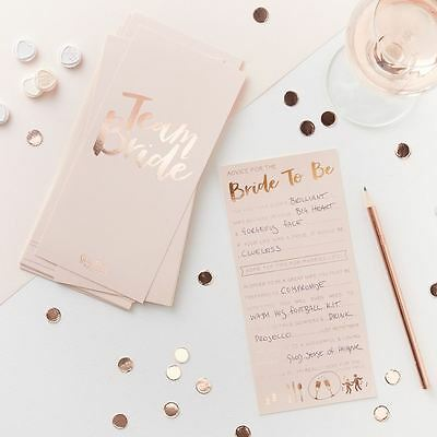 Pink Rose Gold Advice for the Bride to Be Cards x 10 TEAM BRIDE Hen Party Ideas - Ideas For Bachelorette Party