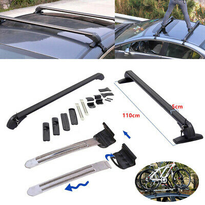 Car Roof Rail Luggage Rack Baggage Carrier Aluminum Black w/ Lock &Key 110cm Kit