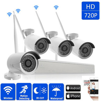 4CH 1080P Wireles NVR Outdoor Waterproof Wifi IR-CUT 960P Camera Security System