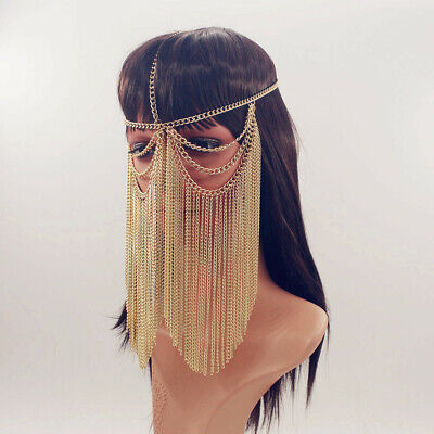 Costume Face Masks (Hand Made Metal Chain Fringe Face Veil Mask Face Mask Costume Veil)
