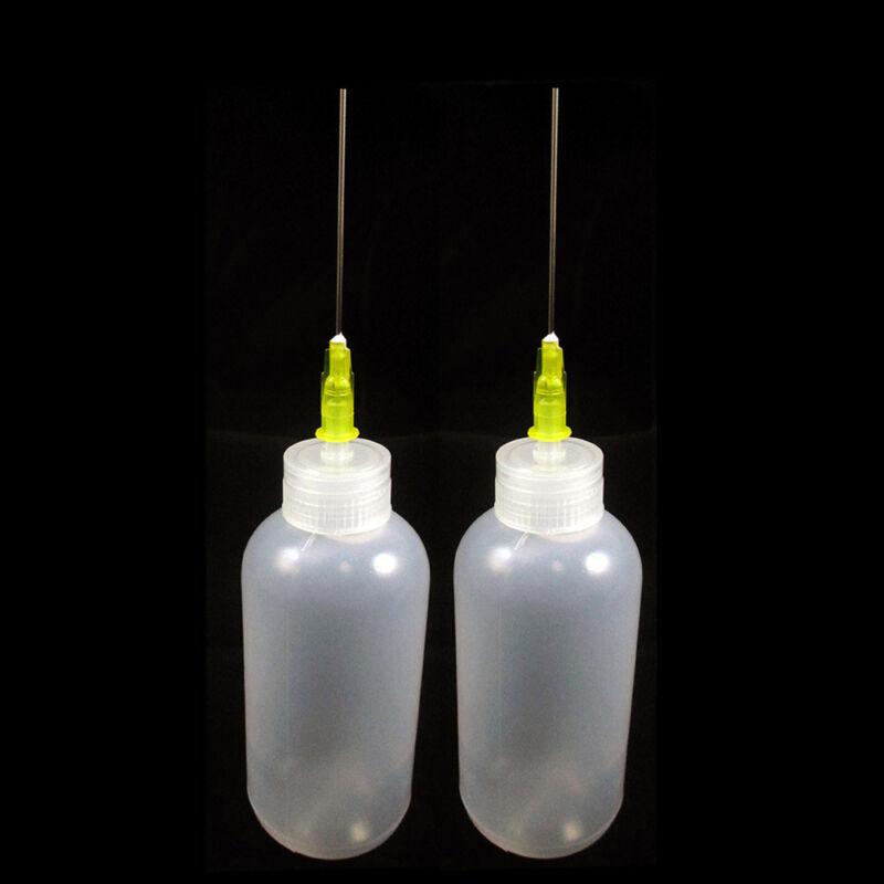 2 Needle Tip Bottle Liquid Flux Dispenser Oil Solvent Applicator Dropper 0.7 Oz