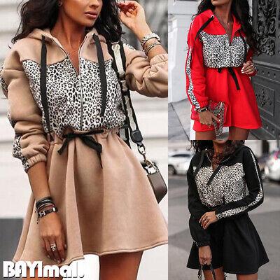 Women Leopard Hooded Zip Long Sleeve Mini Dress Ladies Casual Belted Jumper Tops
