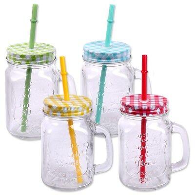 4er Pack Trinkgläser mit Deckel, Henkel, Strohhalm 500ml Glas Gläser Trinkglas