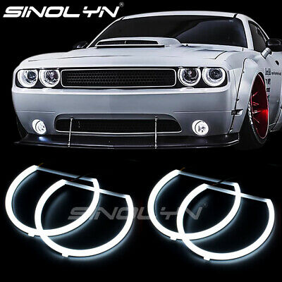 For Dodge Challenger 08-14 LED Angel Eyes DRL Halo Rings Lights Bulbs Headlight