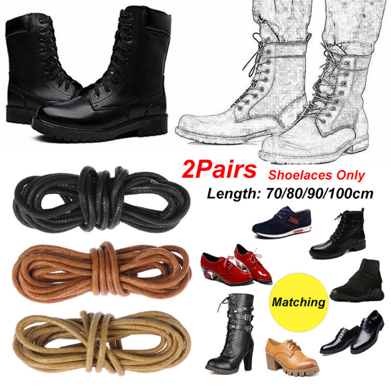 Flat Black Laces Waxed For Boots Cord Shoes /& Trainers All Lengths Round