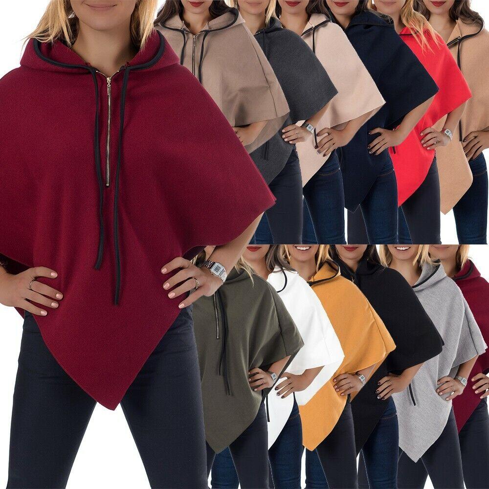 Damen Poncho Pullover Bluse Pulli Strick Sweater Jacke Cardigan Tunika L873