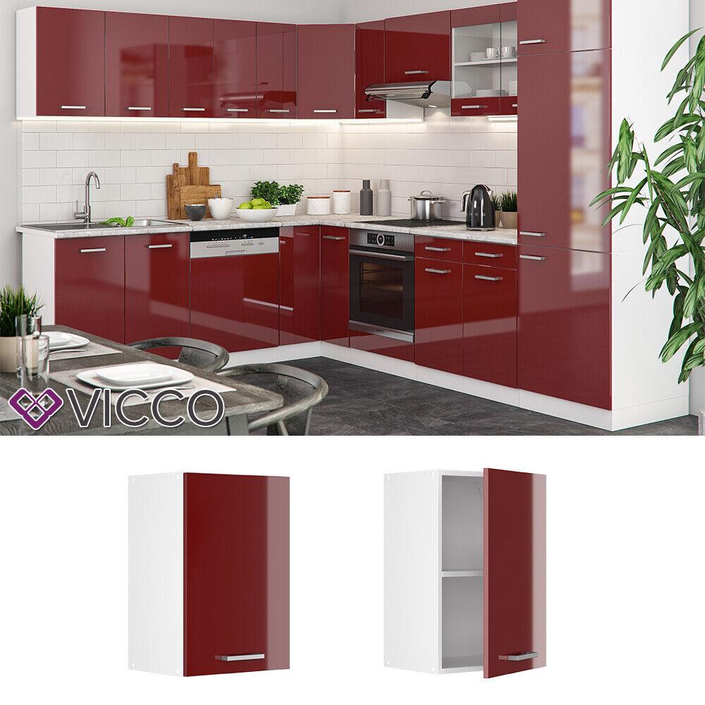 VICCO Küchenschrank Hängeschrank Unterschrank Küchenzeile R-Line Hängeschrank 40 cm rot