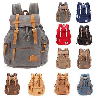 Vintage Mens Canvas Backpack Sport Camping Travel Hiking Rucksack Schoolbag 32L